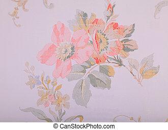 run-down, roto, vindima, padrão papel parede, floral