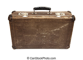 Run-down suitcase - Run-down brown suitcase isolated on a...