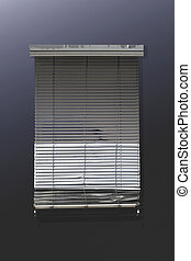 Run down venetian blind on dark monochrome wall
