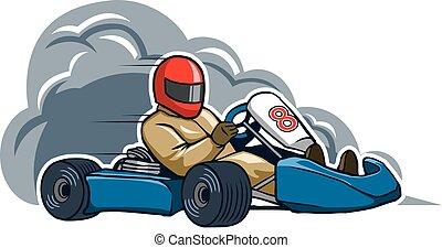 Run Fast Gokart - Vector illustration for go kart race theme