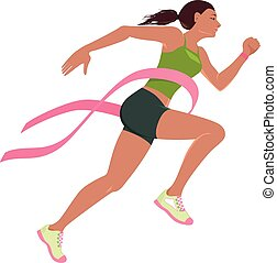 Run for the cure for breast cancer - Young woman running...