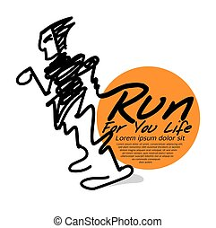 Run For Your Life The Abstract Runner Vector Illustration