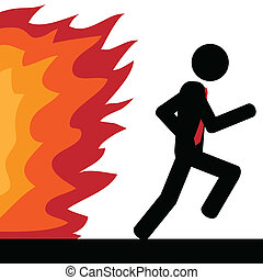 Run from fire - Vector , illustration. A man is running from...