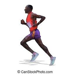 Run, geometric marathon runner in red shirt, side view