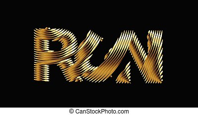 Run Gold calligraphic text vector illustration design.
