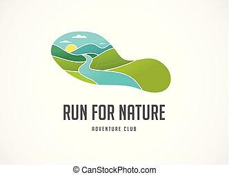 Run icon, symbol, marathon poster and logo