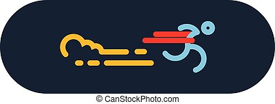 run Icon Vector. Silhouette Runner at Finish Line. Simple flat symbol. vector illustration