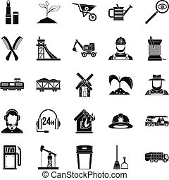 Run icons set, simple style - Run icons set. Simple set of...