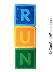 run in toy block letters