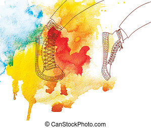 run - jogging in sports shoes on watercolor background....
