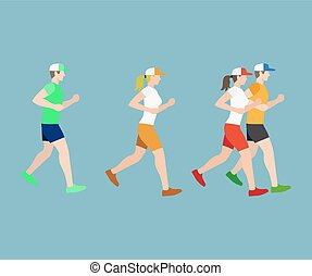 Run man and woman flat icons