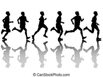 Run men - Vector drawing athletes on running race