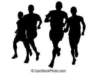 Run men - Athletes on running race on white background