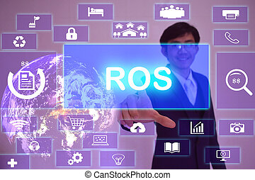 Run of  Site  (ROS) concept  presented by  businessman touching on  virtual  screen ,image element furnished by NASA