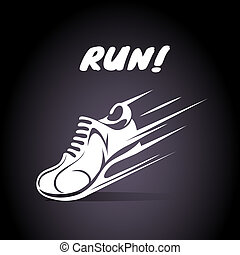 Run poster design with a speeding trainer running shoe or...