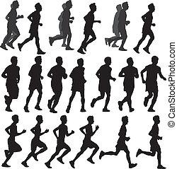 run Silhouette vector - Vector Running Man & Halftone Trail....