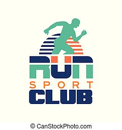 Run sport club logo template, emblem with abstract running man silhouette, label for sports club, sport tournament, competition, marathon and healthy lifestyle vector illustration