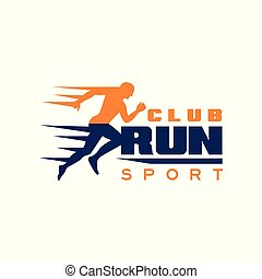 Run sport club logo template, emblem with running man silhouette, label for sports club, sport tournament, competition, marathon and healthy lifestyle vector illustration