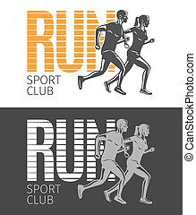 Run Sport Club. Two Pictures with Running People.