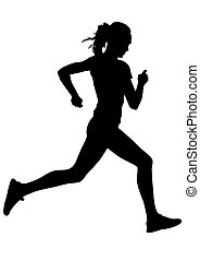 Run sports woman - Woman athletes on running race on white...