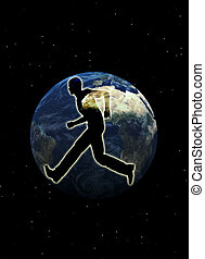 Run The World - Silhouetted man who is running against the...