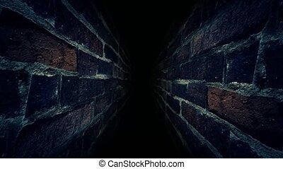 Run through the dark corridor. It's dark and scary. 38.