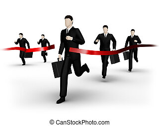 Run to finish - On 3d image render group of the businessman...