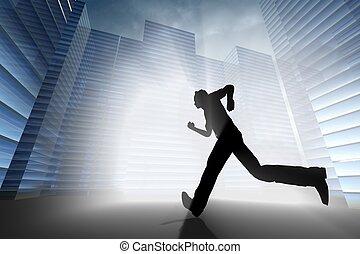 run to work - skyscrapers 3d in sky run to work concept