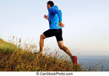 run up mountain autumn