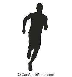 run., vector, silueta