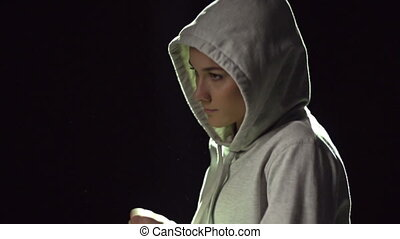 Run - Slow-motion of a runner in hooded sweatshirt