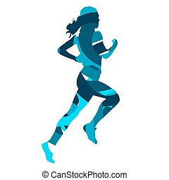Run woman. Abstract blue silhouette
