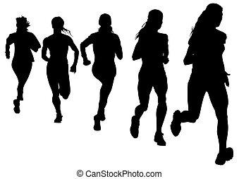 Run women - Vector drawing athletes on running race
