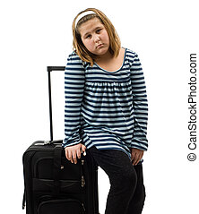 A runaway girl with her luggage, isolated against a white background