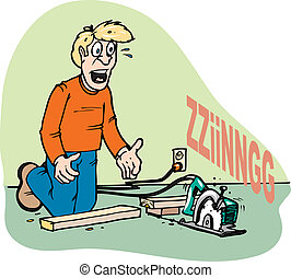 runaway saw - A man letting go of a power-saw by accident...