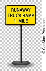 Runaway truck ramp 1 mile traffic warning sign isolated on transparent background illustration
