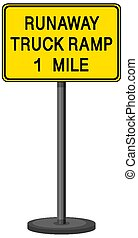 Runaway truck ramp 1 mile warning sign with stand isolated on transparent background illustration
