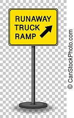 Runaway truck ramp warning sign isolated on transparent background illustration