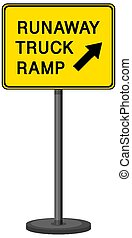 Runaway truck ramp warning sign isolated on white background illustration