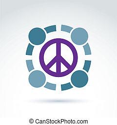 runda, antiwar, vektor, ikon, nej, krig, symbol., folk, av, världen, co
