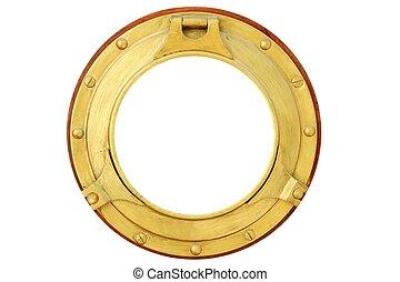runda, gyllene, mässing, båt, fönster, isolerat
