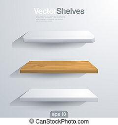 rundat, shelves., form., vektor, hörna, rektangel, 3