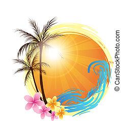 runder , hintergrund, mit, palmen