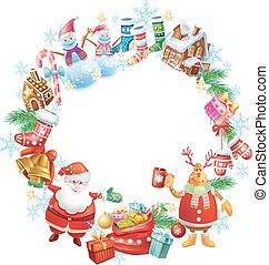 runder , weihnachten, rahmen