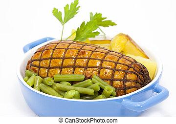 runderrookvlees, met, groentes