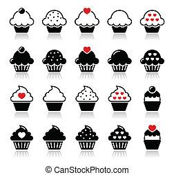 rundholz, kirschen, herz, cupcake