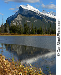 Rundle in Autumn - Mount Rundle and Vermillion Lake during...