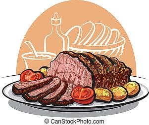 rundvlees, geroosterd, aardappels, gebraad
