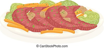 rundvlees, patrick, wortels, illustratie, st, kool