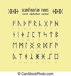 rune, alphabet., oculto, antiga, symbols.